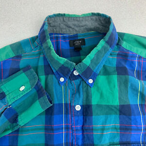 J-Crew-Button-Up-Shirt-Mens-Large-Blue-Green-Plaid-Long-Sleeve-Casual