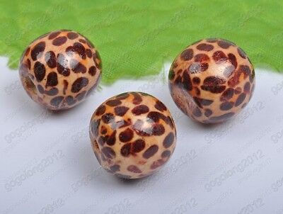 brown color leopard print round wood losse beads 10mm 12mm 16mm 20mm