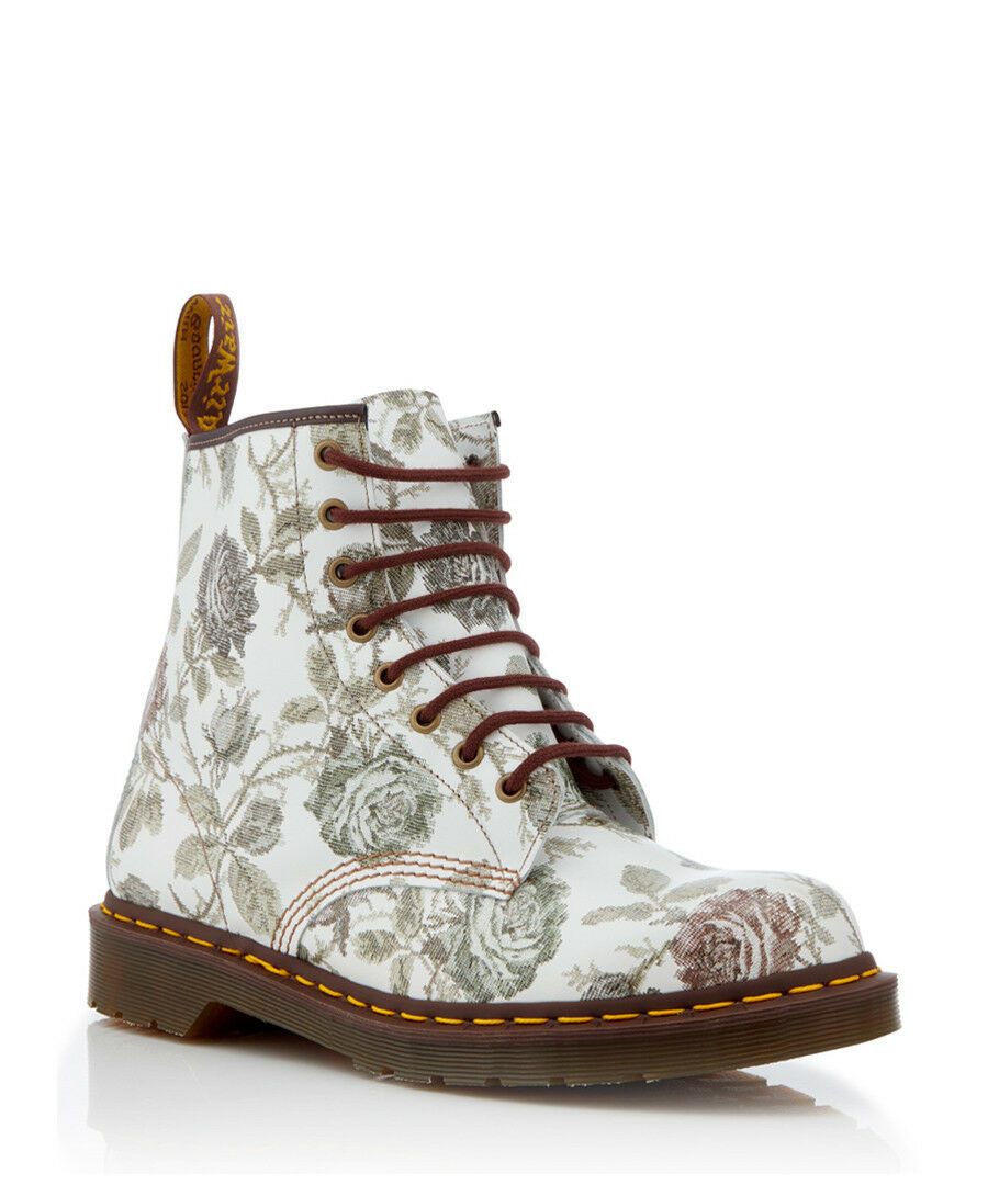 Dr. Dr. Dr. Martens Women's MADE IN ENGLAND 1460 Grey Floral Boots. Size 5df31a
