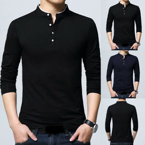 Hot-Men-039-s-New-Fashion-Standing-Collar-Men-039-s-Long-Sleeve-T-shirt-Pure-Blouse-Tops
