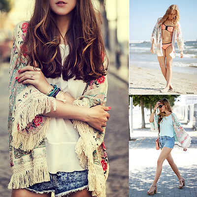 Boho Hippie Tassels Shawl Top Kimono Loose Coat Cape Jacket Cardigan Summer New