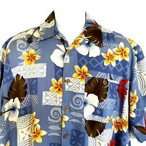 Banana Cabana Hawaiian Floral Herren XL Seide Camp Shirt Kokosnuss Knöpfe Tasche