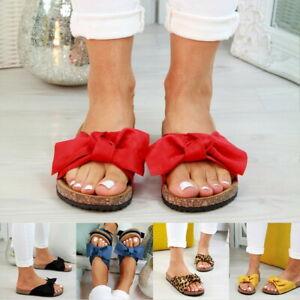 Womens-Slip-On-Sandals-Bow-Flat-Mule-Summer-Sliders-Espadrille-Shoes-Size-UK-3-8