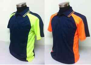 Mens hi vis work wear safety polo shirt workwear top s m for Hi vis t shirt printing