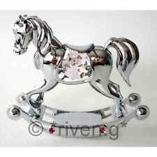 ROCKING HORSE@PINK@CHRISTENING GIFT@SWAROVSKI CRYSTALS@LITTLE GIRL@SILVER PLATED