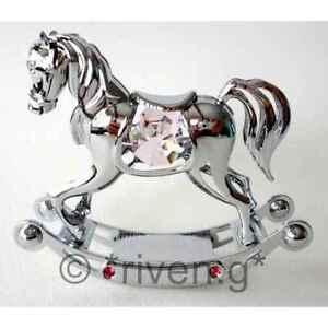 Cavallo A Dondolo Swarovski.Crystocraft Cromato Bambina Cavallo A Dondolo Regalo Rosa