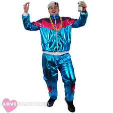 Homme Femme Rétro 80 s 90 s Metallic Shell Costume Survêtement Chav Fancy Dress Costume