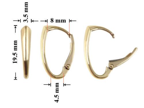 platings diferentes Pendientes de plata esterlina gancho de los resultados de la 19.5x8mm
