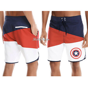 df13654542 Image is loading Marvel-Captain-America-Shield-Board-Shorts-Swim-Trunks-