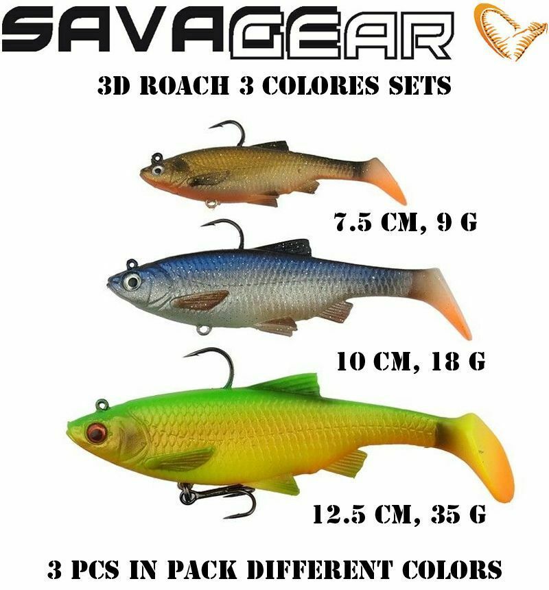 "perch SHAD TEEZ 1-4pcs 7 cm Savage Gear 3D Roach Paddle Tail 3/"" Brochet zander"