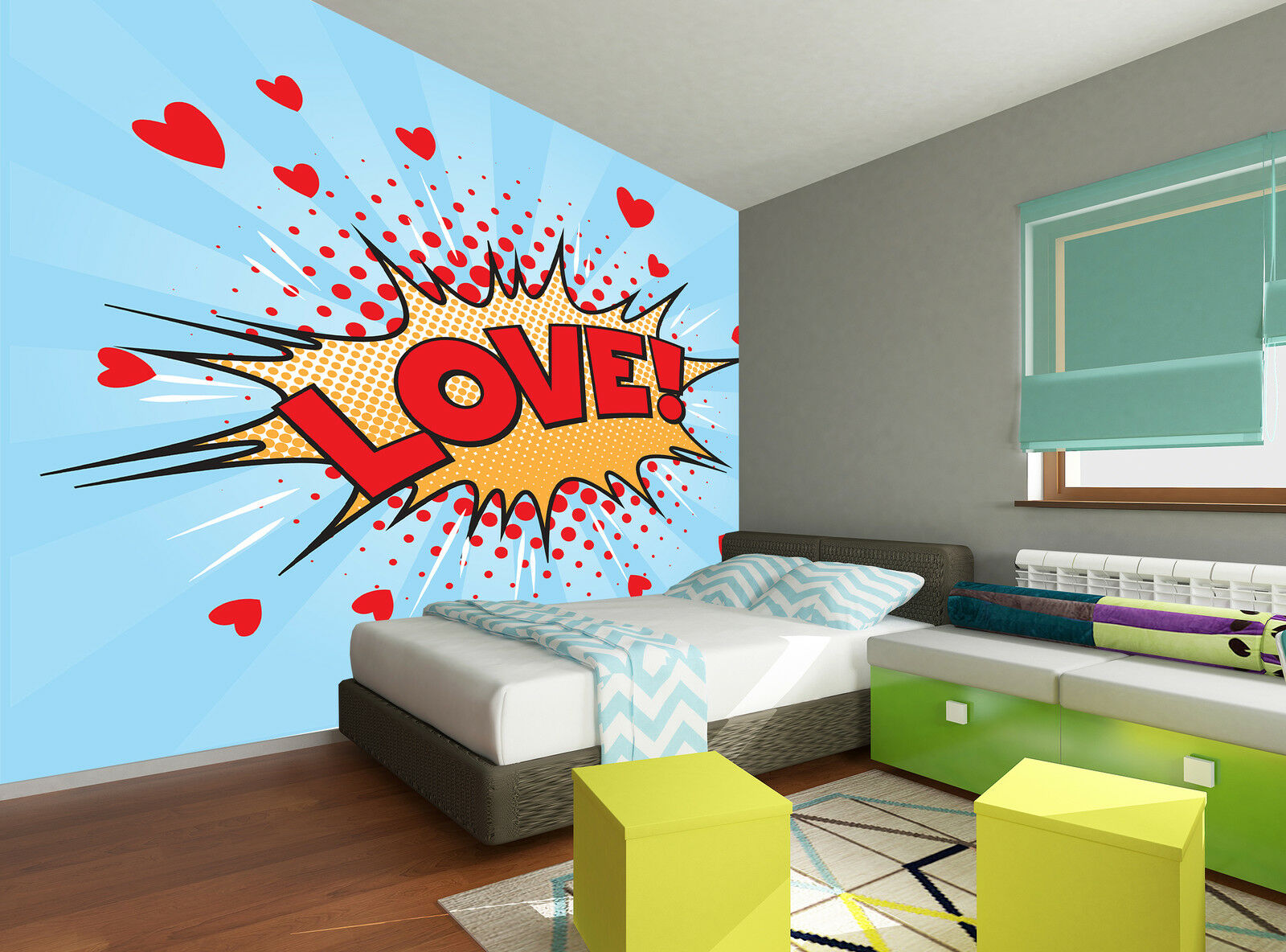 Love Pop Art  Wall Mural Photo Wallpaper GIANT WALL DECOR PAPER POSTER FREE GLUE