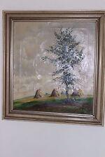 Ölgemälde oil painting 60x55 cm TOP signiert Landschaft BAUM FELD Heuhügel