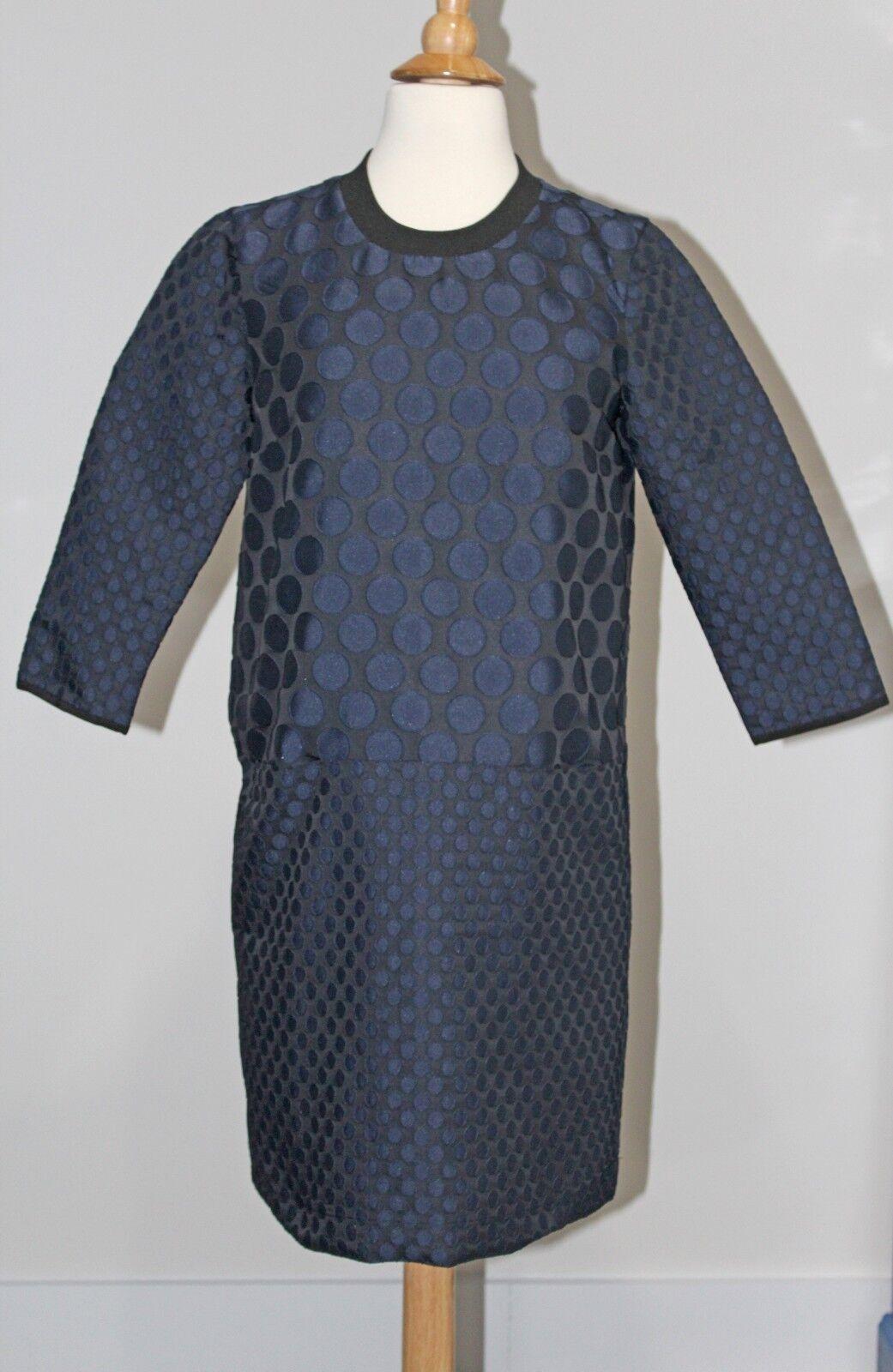 New MADEWELL Navy bluee MOOD DOT SHIFT DRESS Sz S 3 4 Length Sleeves