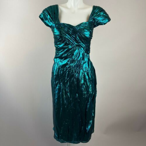 Vtg 80s Victor Costa Teal Lame Party Dress Metalli