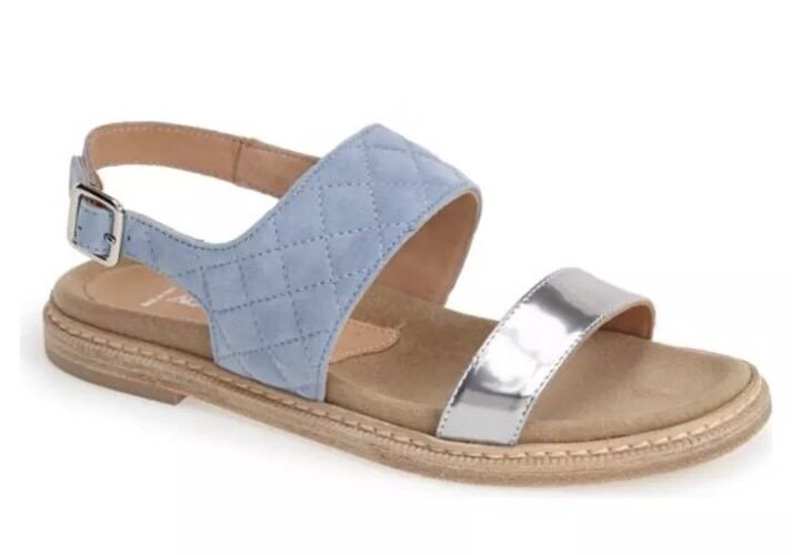 Aquatalia By Marvin K. Whistler Donna  blu blu blu Leather Slingback Sandal Sz 9 1131 76f7a9
