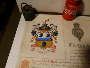 1887-William-John-McNeight-Palmerston-Park-ULSTER-GRANT-OF-ARMS-Boxed
