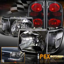 1998-2000 Toyota Tacoma 4WD Black Headlights W/ Black Corner + Black Tail Lights
