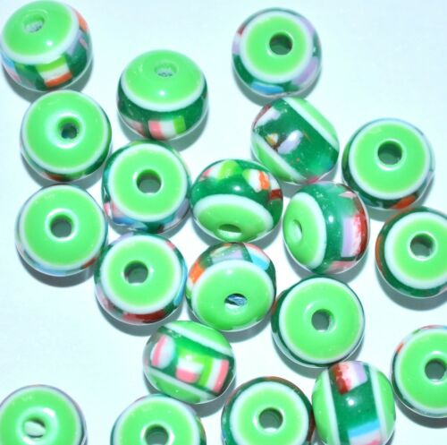 50pcs round resin beads colourful pattern 8mm