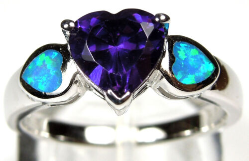 Heart Amethyst /& Blue Fire Opal Inlay 925 Sterling Silver Ring size 6 7 8