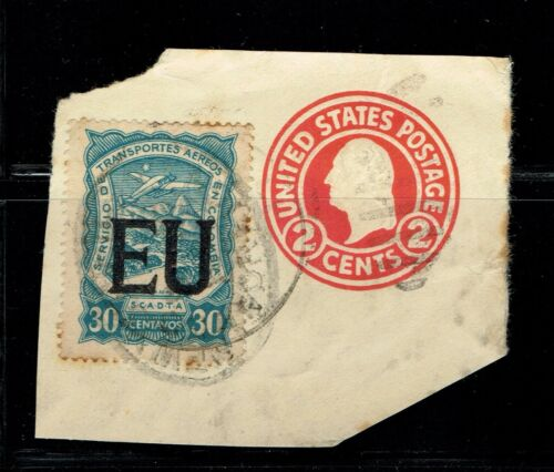 COLOMBIA SCADTA Consular Overp. EU 30c blue w + US 2c red embossed cover cut