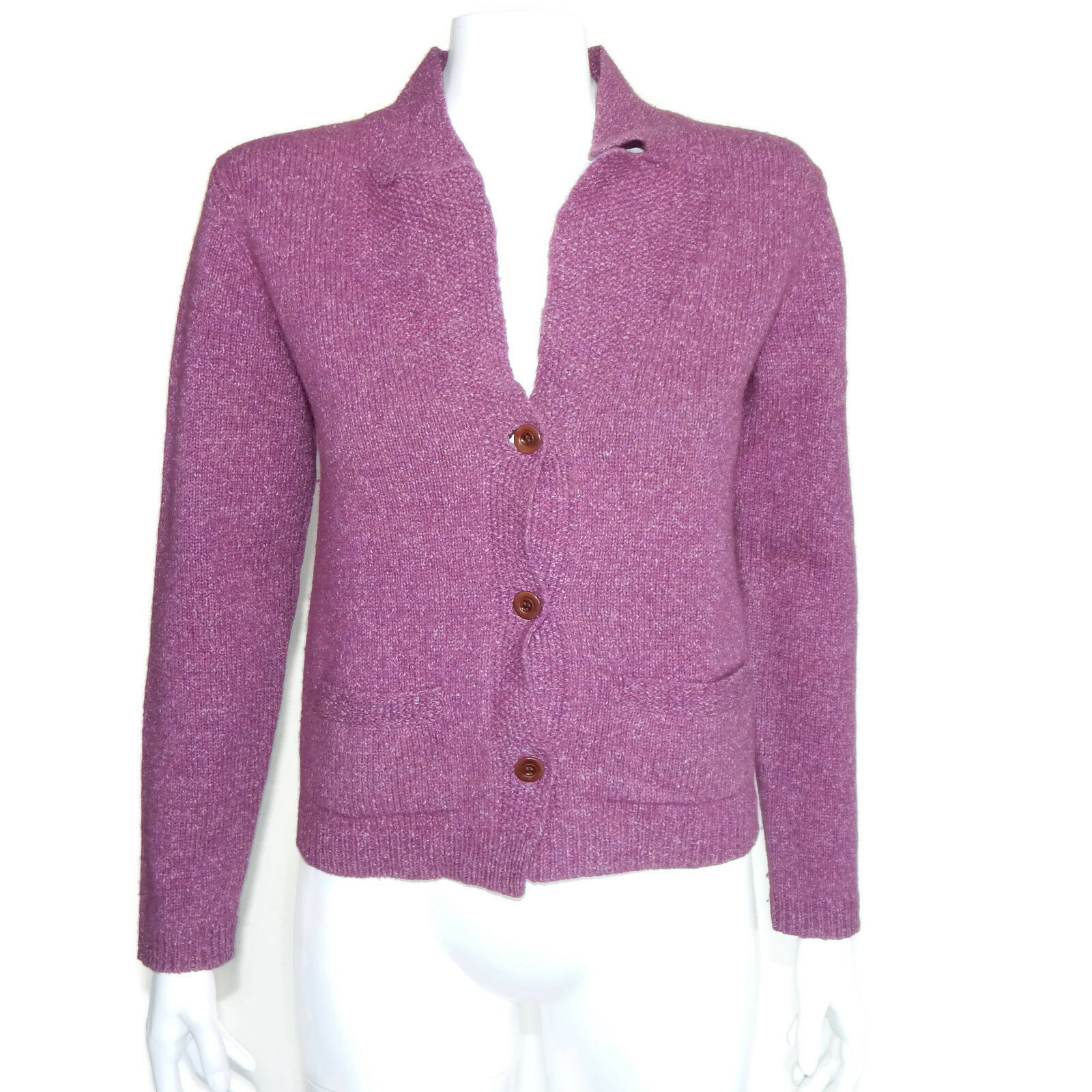 DRIES VAN NOTEN Purple Wool Silk Cardigan Button Front Front Front Sweater Belgium sz S 1863 d6c88d