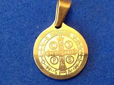 St BENEDICT Medal Protection Exorcism's Saint Medal Gold Plated Stainless Steel