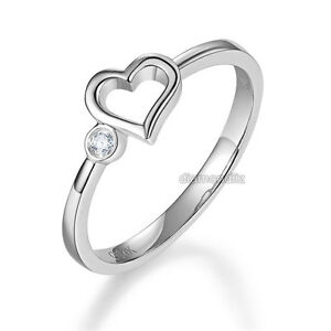d2e967392 14K White Gold Heart Wedding Band Bridal Ring 0.02 Ct Diamond 585 ...