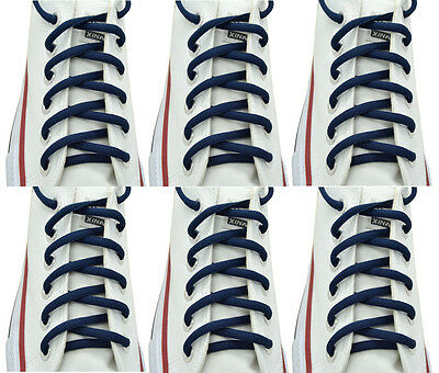 """Oval Sneakers Shoelaces /""""Navy Blue/"""" 36/"""",45/"""" Athletic Shoelaces 1,2,4,6.12 Pairs"""