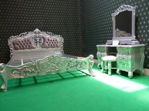 Super-King-upholstered-padded-French-Rococo-baroque-Bed-Silver-velvet-upholstery