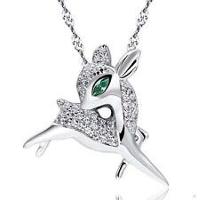 Sterling Silver Deer Raindeer Pendant Necklace Swarovski Element Crystal Box K18