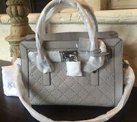 Michael Kors Microstud Hamilton Ew Satchel Leather Purse Handbag Pearl Grey $398
