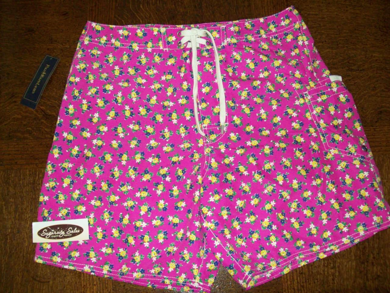 NWT POLO RALPH LAUREN SWIMSUIT TRUNK BOARD SHORT ALOHA PINK FLORAL 4118430 30