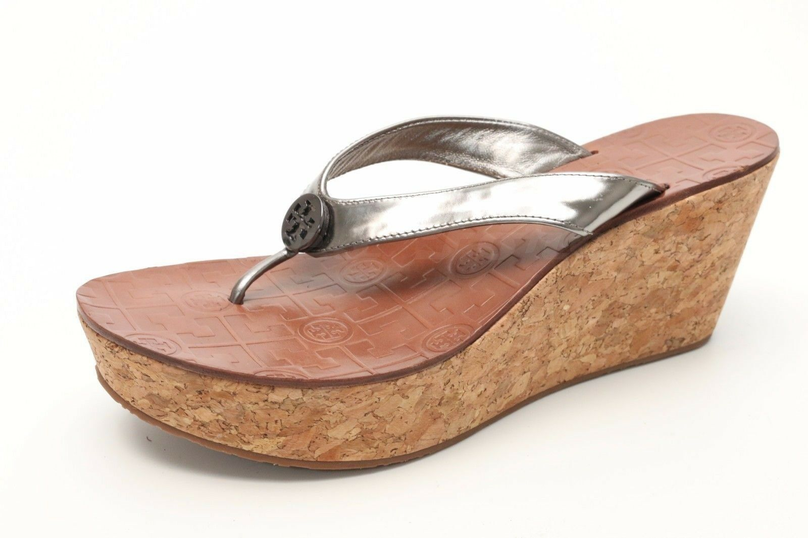 donna TORY BURCH metallic patent leather leather leather wedge thong sandals sz. 9.5 NEW  62c270