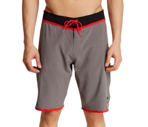 Quiksilver Men/'s Loc Scallop Boardshort Size 34 Metal Gray Surf Beachwear NWT