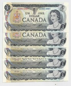 5-x-Sequential-1973-1-Bank-of-Canada-Notes-AU