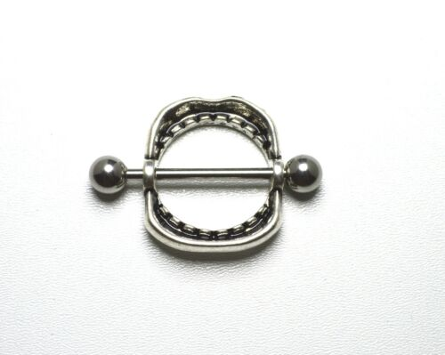 Lips and Teeth Nipple Bar Ring Shield Wide Open Mouth