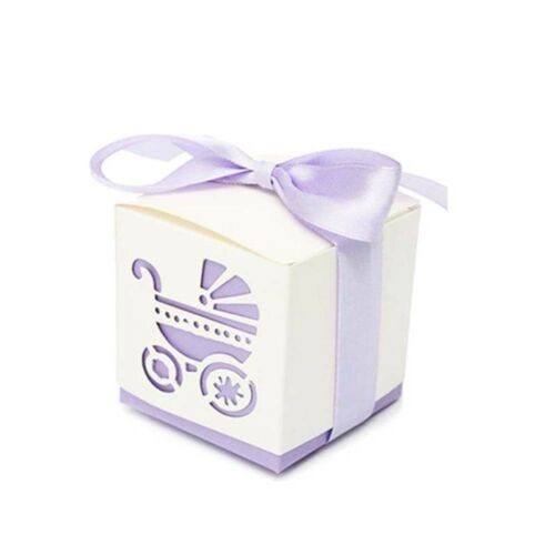 10Pcs Favor Wedding Anniversary Ribbon Boxes Candy Boxes Baby Shower Carriages