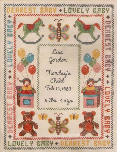 "Vintage /""Monday/'s Child Birth Sampler/"" Stamped Cross Stitch Kit"