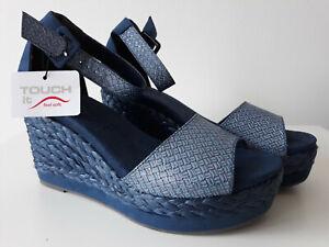 Details zu TAMARIS Damen Keil Sandale Sandalette Peeptoes Wedge blau Touch It Gr. 40 NEU