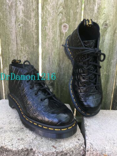 Martens Women/'s Church Croc Ankle Boot Black Leather NIB Dr