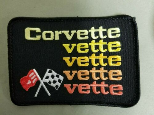 Corvette Flags Embroidered Black Iron On Automotive Patch.