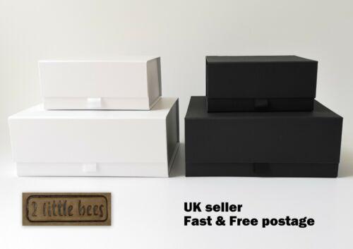 Luxury Magnetic GIFT BOX MEDIUM White Black Wedding Bridesmaid Gift ideas UK