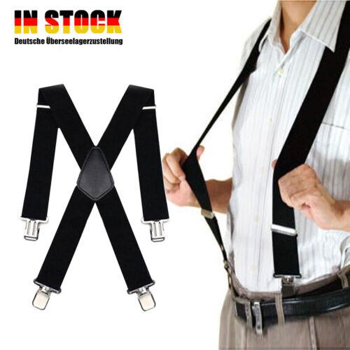 Herren Hosenträger mit 4 Clips extra Breit Hosen starken Versch X-Form 50MM DA