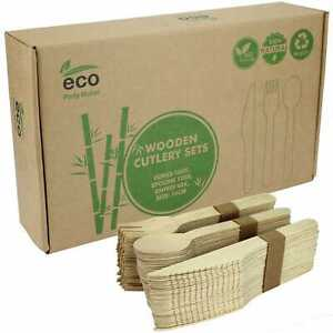 Wooden Cutlery Set Boxed 360pcs Biodegradable Eco Friendly Knives Forks Spoons