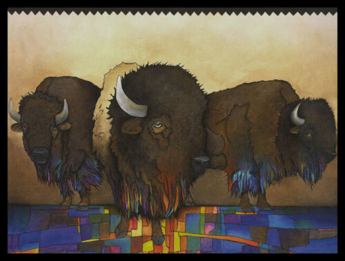 762-MSA Micqaela Jones BISON /'MR COOL AND HIS GANG/' Blank Greeting Note Card NEW