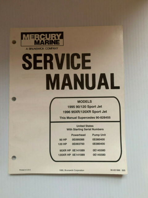 Mercury Mariner Oem Factory Manual 1995 90 120 95xr 120xr Sport Jet