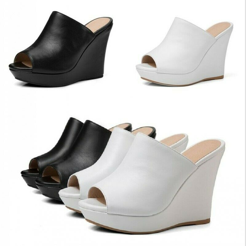 Genuine Leather Wedge High Heel Slippers Sandals Summer scarpe US4-8 Solid Mules