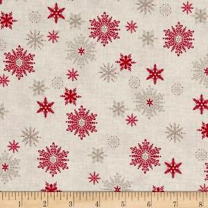Scandi 3 Christmas Quilt Fabric Snowflakes Linen Makower UK Premium Cotton