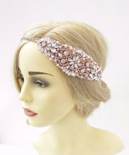 Rose Gold Ivory Silver Diamante Bridal Headpiece Headband Wedding Ribbon 3425