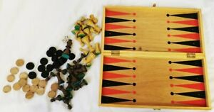 En-bois-echecs-et-backgammon-Compendium-Jeu-Complet-Vintage